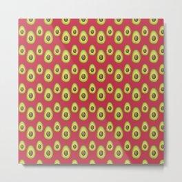 Red Avocado Pattern Metal Print
