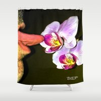 cunt Shower Curtains featuring funny painting lick BDSM fetish Big dick cock suck oral sex pussy cunt transgender anal fuck  by Velveteen Rodent