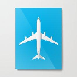 A340 Passenger Jet Airliner - Cyan Metal Print