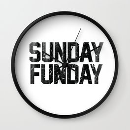 Sunday Funday Dirty Vintage Varsity Typography Print Wall Clock
