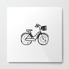 Bicycle Abstract Ink Drawing Metal Print