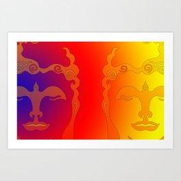 Buddha Head Rainbow I Art Print