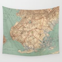 jamaica Wall Tapestries featuring Vintage Map of Jamaica Bay and Brooklyn NY (1891) by BravuraMedia