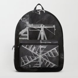 steampunk western country chalkboard art agriculture farm windmill patent print Backpack