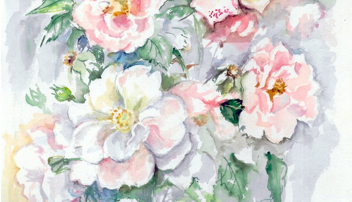 White Wild Roses Watercolor Painting White Pink Rose Flower Bouquet