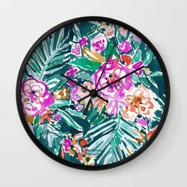 TROPICAL FEELS Begonia Palm Watercolor Pattern Wall Clock
