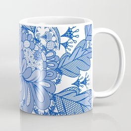 Lace blue design. Vector fashion illustration Coffee Mug
