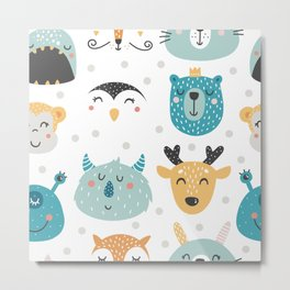 Baby Animals - Fantasy and Woodland Creatures Pattern Metal Print
