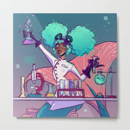 mermad scientist Metal Print