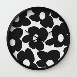 Black Retro Flowers White Background #decor #society6 #buyart Wall Clock