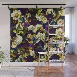 hummingbird paradise ethereal autumn flower pattern fn Wall Mural