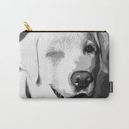 labrador retriever dog winking vector art black white Carry-All Pouch