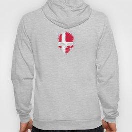 Flag of Denmark on a Chaotic Splatter Skull Hoody
