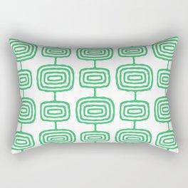 Mid Century Modern Atomic Rings Pattern Green 3 Rectangular Pillow