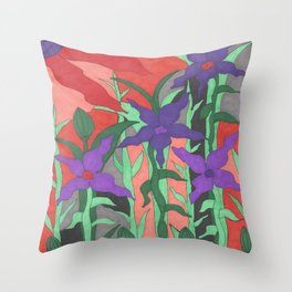 Twilight Sun Garden Floral Art Throw Pillow