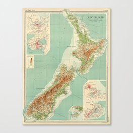 Vintage Map of New Zealand (1922) Canvas Print