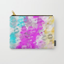 pink blue and orange kisses lipstick abstract background Carry-All Pouch
