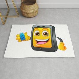 Yellow fun mobile phone cartoon with blue price tag dollar sign Rug
