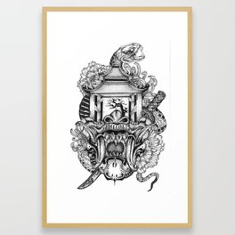 Demon mask Framed Art Print