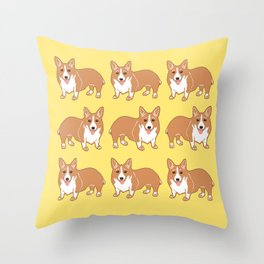 Happy Corgi Pattern Throw Pillow