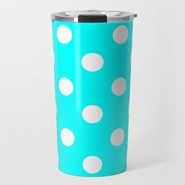 Polka Dots - White on Aqua Cyan Travel Mug
