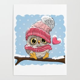 Owl in knitted cap Poster
