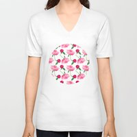 peonies V-neck T-shirts featuring Peonies by Inna Moreva