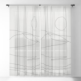 Abstract Landcape 15A Sheer Curtain