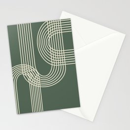 Minimalist Lines in Forest Green Stationery Cards