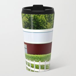 Red Barn And White Fence Travel Mug
