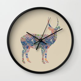 Antelope Vintage Floral Pattern Blue Orange Green Taupe Beige Rustic Shabby Wall Clock