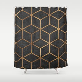 Charcoal and Gold - Geometric Textured Cube Design I Shower Curtain