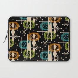 Retro Atomic Mid Century Pattern Black Orange Green and Turquoise Laptop Sleeve