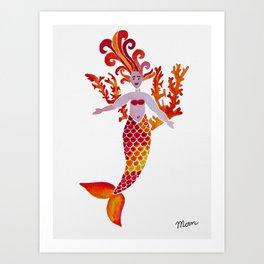 Fiery Mermaid Art Print