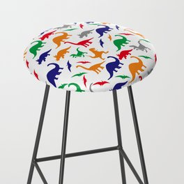 Colorful Dinos in Green, Grey, Red, Blue Yellow Bar Stool