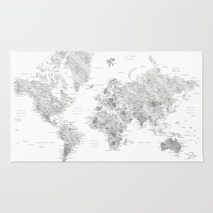 Light grey and brown marble world map rug by blursbyaishop society6 light grey and brown marble world map rug gumiabroncs Choice Image