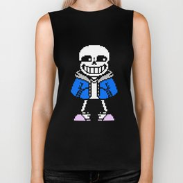 sans skeleton cool pixel art playera camiseta skeleton Biker Tank