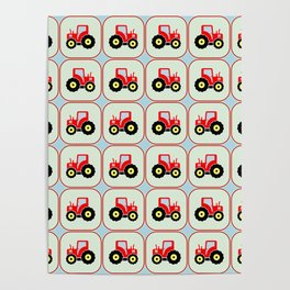 Toy tractor pattern Poster