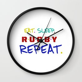 rugby lover ,  typography Wall Clock