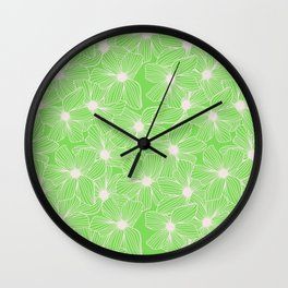 02 White Flowers on Green Wall Clock