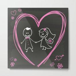 Cartoon bride and groom blackboard design Metal Print