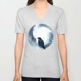 The crow and its Moon. (bcn art version) Unisex V-Neck