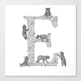 Bearfabet Letter E Canvas Print