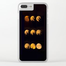 Red blood waning moon Clear iPhone Case