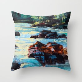 Toby Waters creek painting by Dennis Weber / ShreddyStudio Throw Pillow