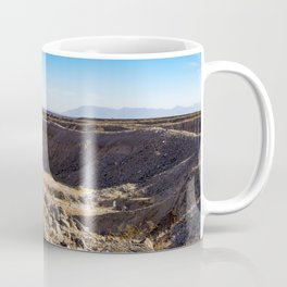 Lone Ocotillo Reaching up to the Blue Sky in front of a Gorge in the Anza Borrego Desert State Park Coffee Mug