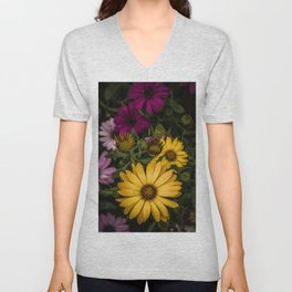 Beautiful colourful African Daisies, Osteospermum, in a green garden at spring. Unisex V-Neck