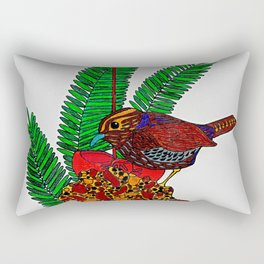Little Bird In Evergreen Boughs Rectangular Pillow