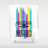 typewriter Shower Curtains featuring Typewriter by Elizabeth Cakovan