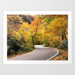 Winding Autumn Road Art Print